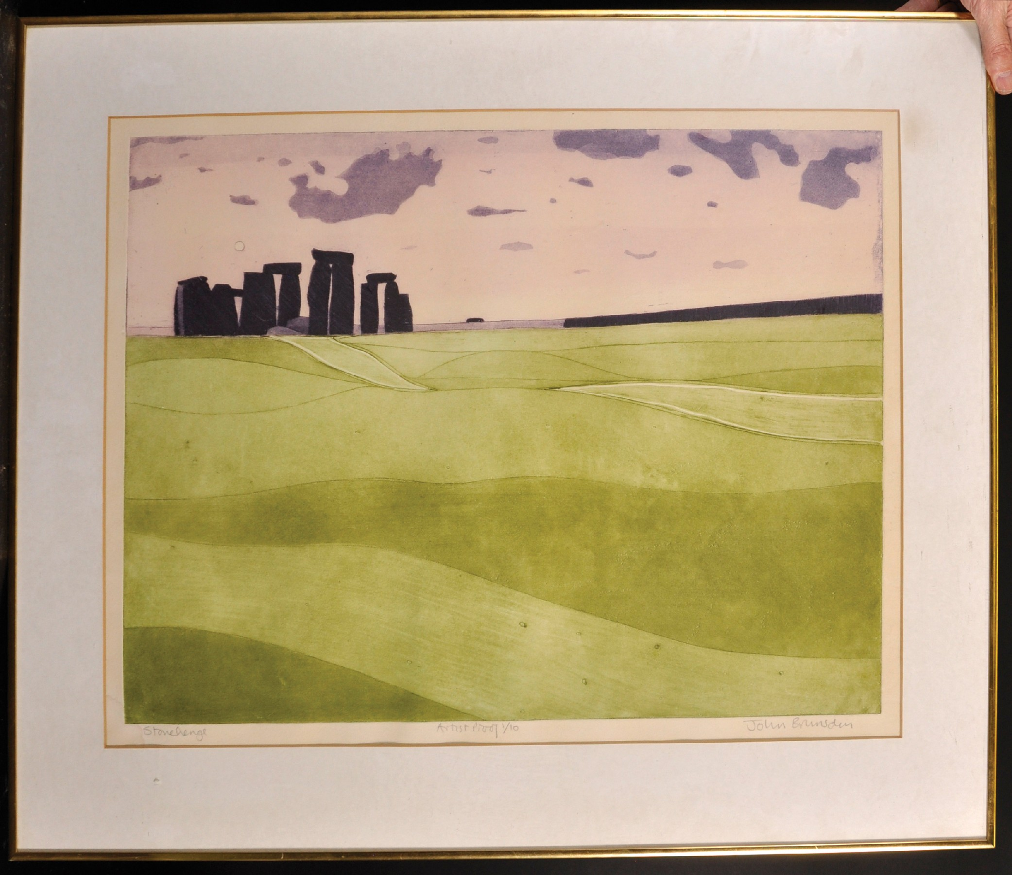 "John Brunsdon (1933-2014) British. ""Stonehenge"", Lithograph, Signed, Inscribed 'Artists Proof 1/10', - Image 2 of 5"