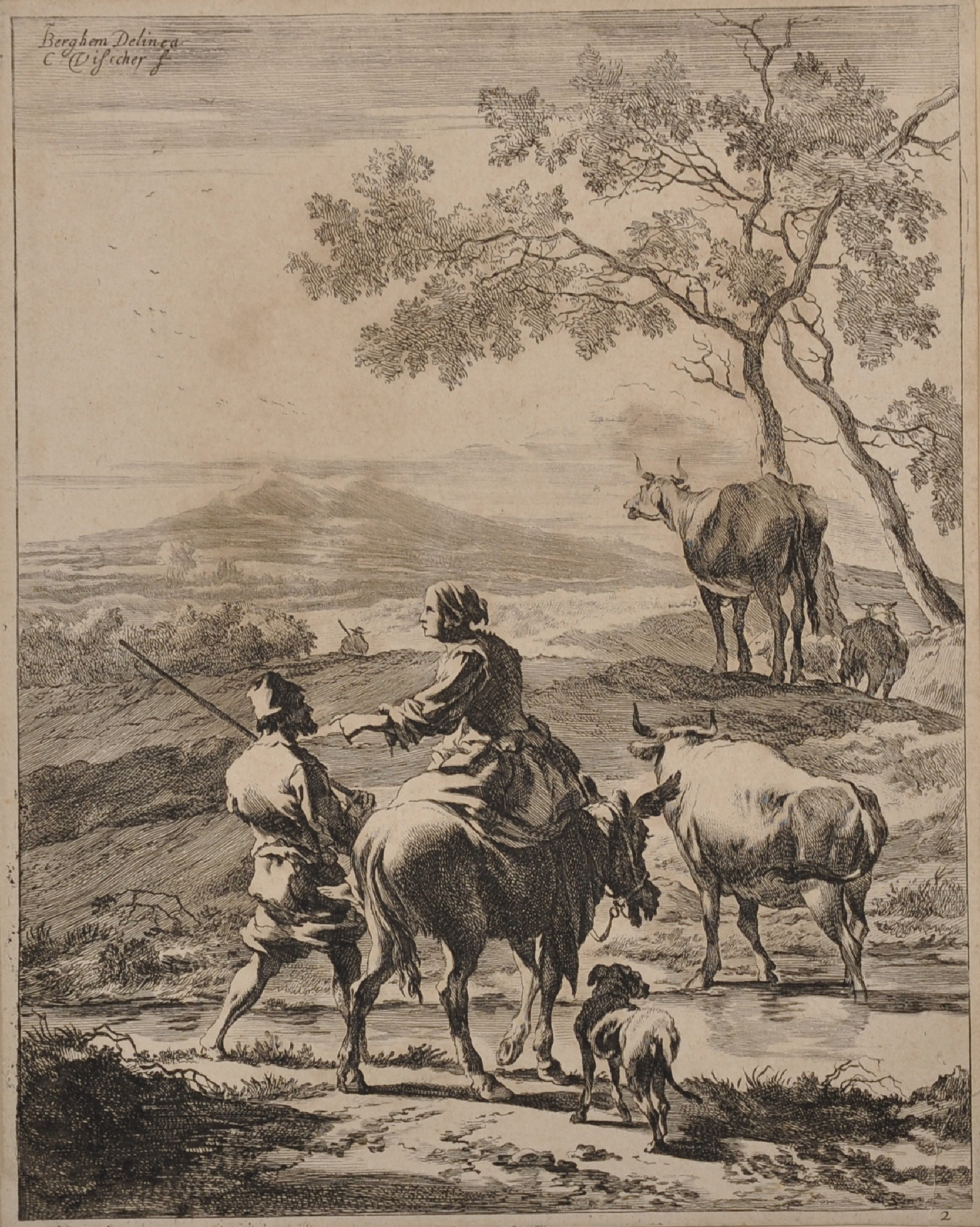 "After Nicholas Berghem (1620-1683) Dutch. Figures on a Path, Engraving, Unframed, 10.25"" x 8"","