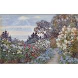 """Beatrice Emma Parsons (1870-1955) British. """"La Mortola"""", A Garden Scene with Rose Bushes, the"""