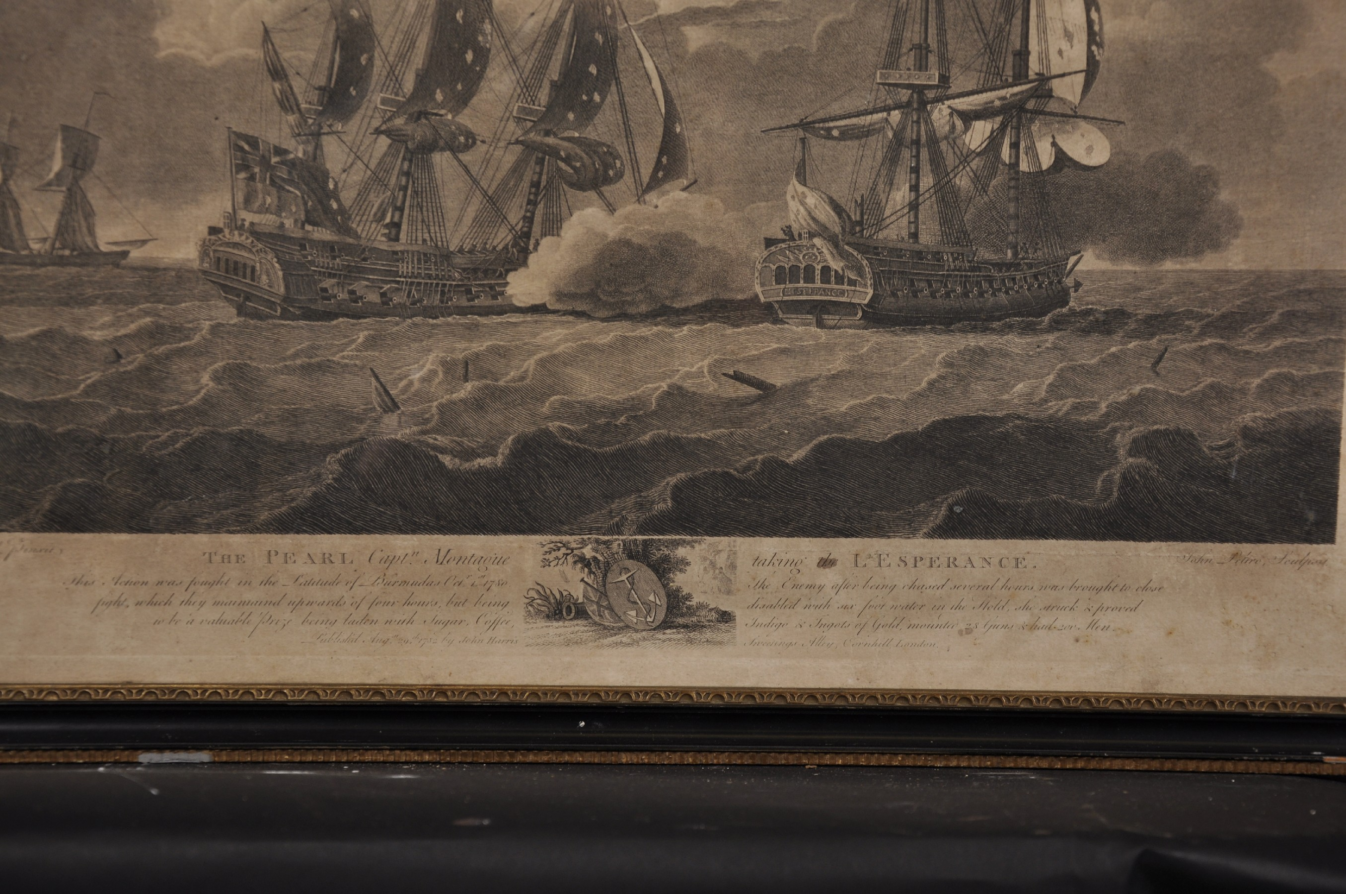 "Lot 34 - After Robert Dodd (1748-1816) British. ""The Pearl"", Engraving, Overall 14.5"" x 19""."