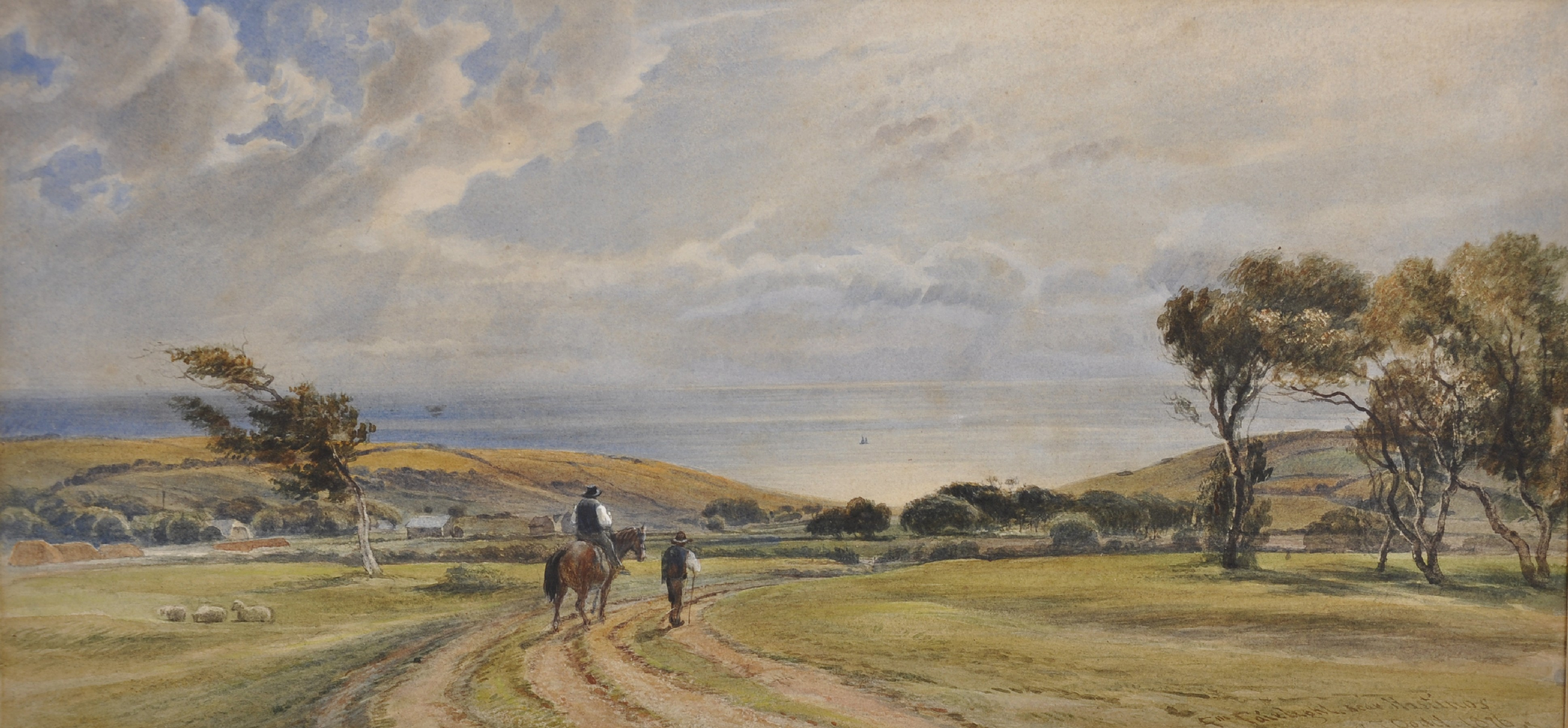 """Charles Tattershall Dodd (1815-1878) British. """"From Fairlight near Hastings"""", with a Figure on a"""