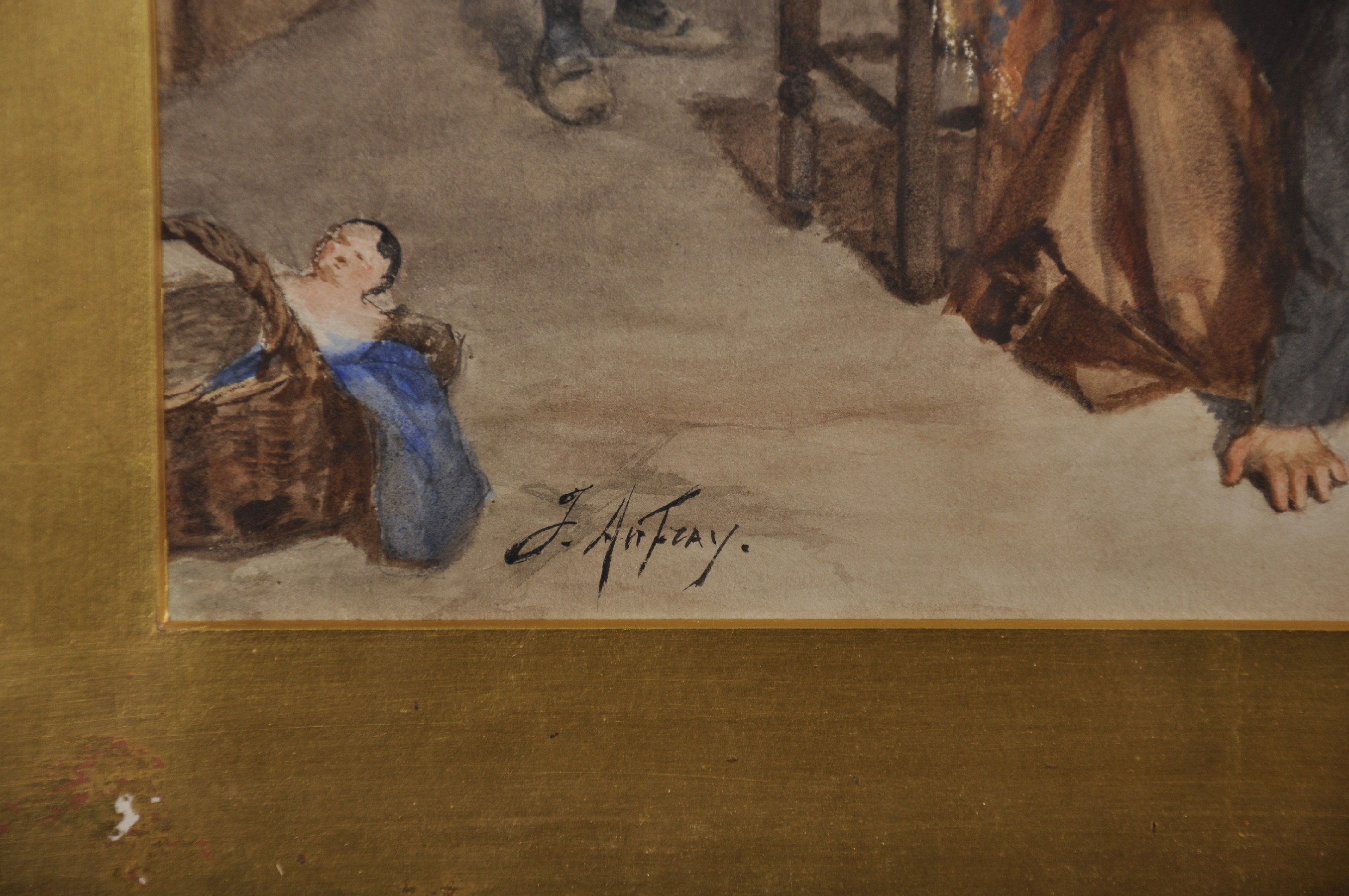 Joseph Athanase Aufray (1836-c.1885) French. Two Children Playing Hide and Seek, Watercolour, - Image 3 of 4