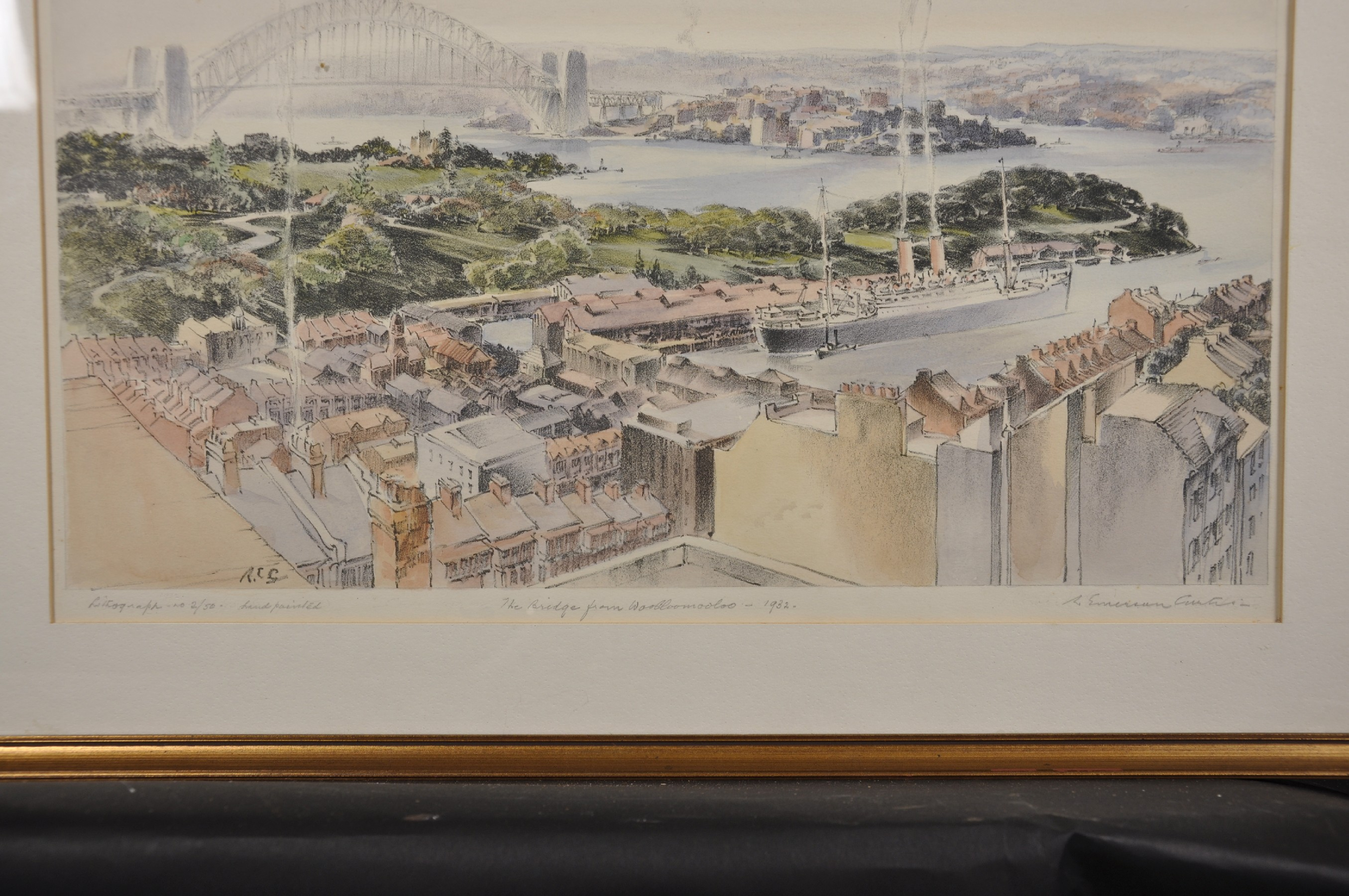 "Robert Emerson Curtis (1898-1996) British/Australian. ""The Bridge from Woolloomooloo"", with Sydney - Image 6 of 12"