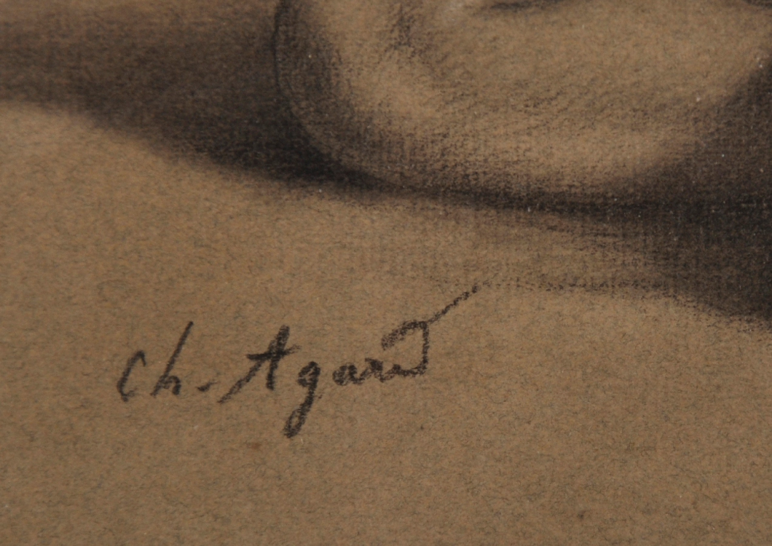 """Charles Jean Agard (1866-1950) French. Study of a Lower Half of a Nude Female, Pencil, Signed, 7.75"""" - Image 3 of 4"""