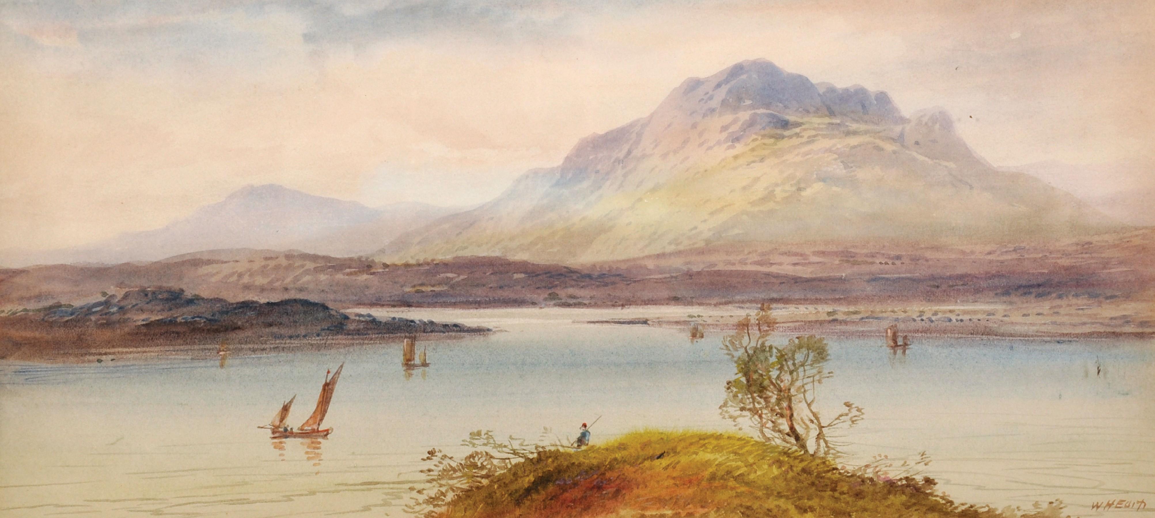 "William Henry Earp (1833- ) British. A Mountainous River Landscape, Watercolour, Signed, 10"" x 21."