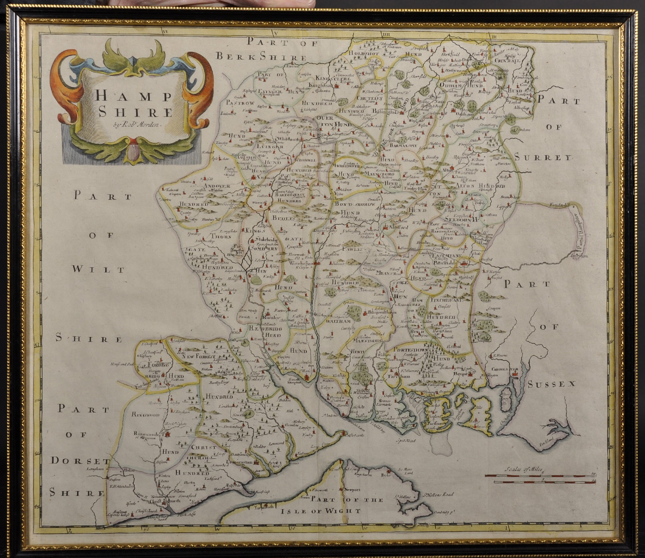 "Robert Morden (c1650-1703) British. ""Hampshire"", Map, Reprint 1720, 15"" x 18"". - Image 2 of 4"