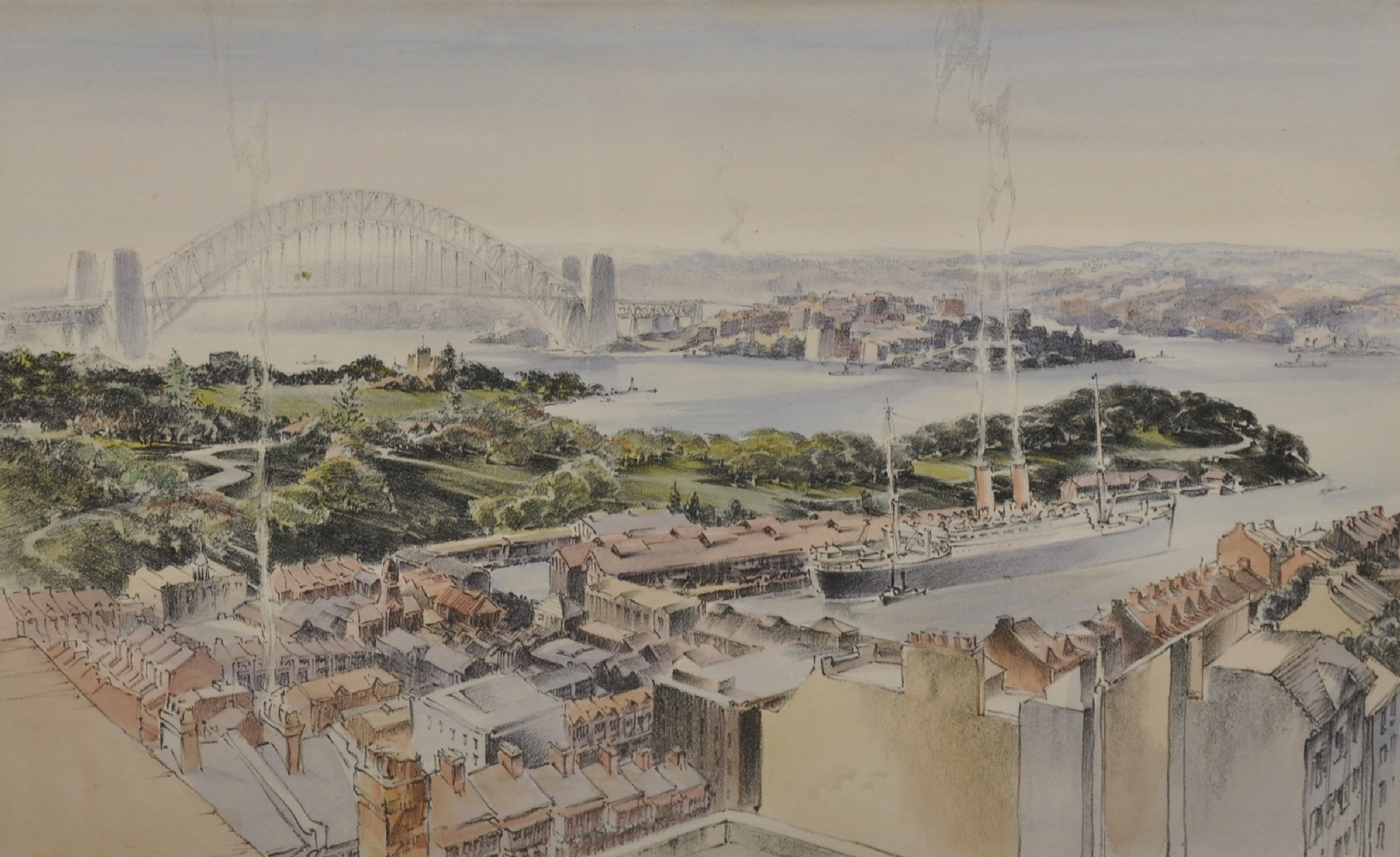 "Robert Emerson Curtis (1898-1996) British/Australian. ""The Bridge from Woolloomooloo"", with Sydney"