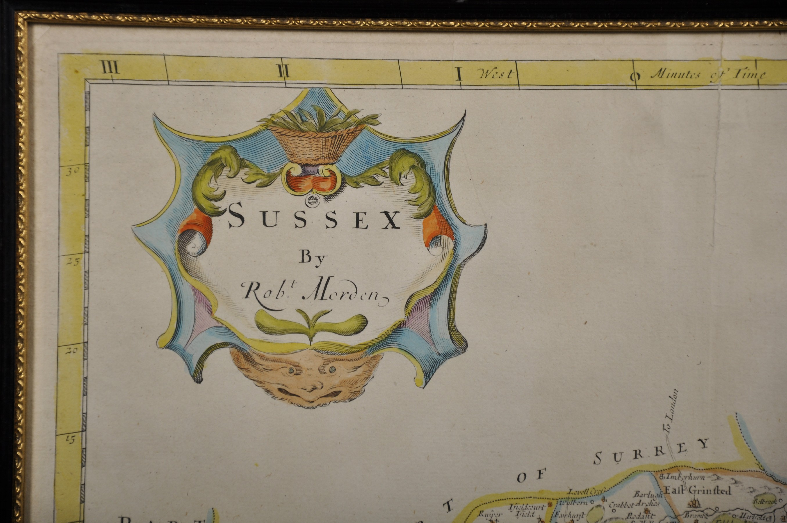 """Robert Morden (c1650-1703) British. """"Sussex"""", Map, 15"""" x 18"""". - Image 3 of 4"""