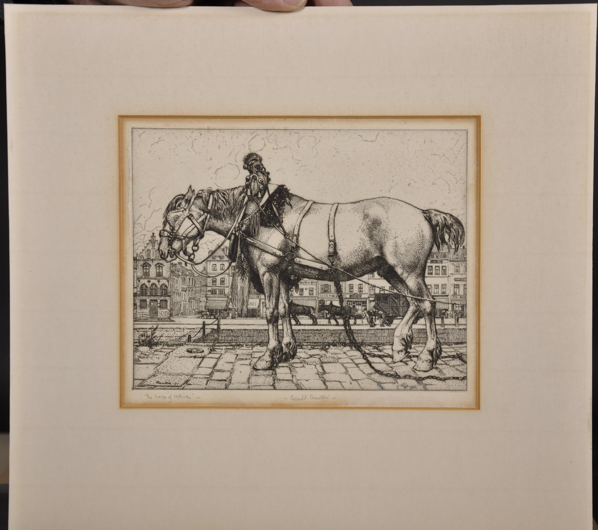 "Robert Sargent Austin (1895-1973) British. ""The Horse of Ostend"", Etching, Signed and Inscribed in - Image 2 of 4"