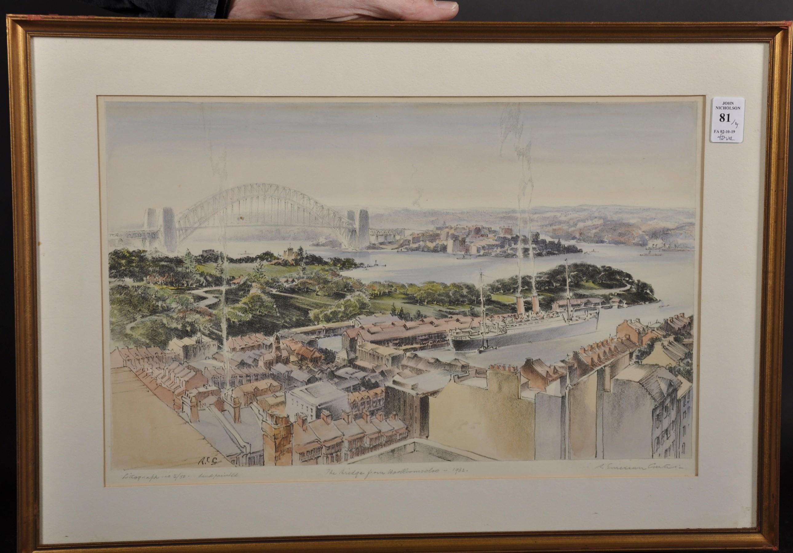 "Robert Emerson Curtis (1898-1996) British/Australian. ""The Bridge from Woolloomooloo"", with Sydney - Image 2 of 12"