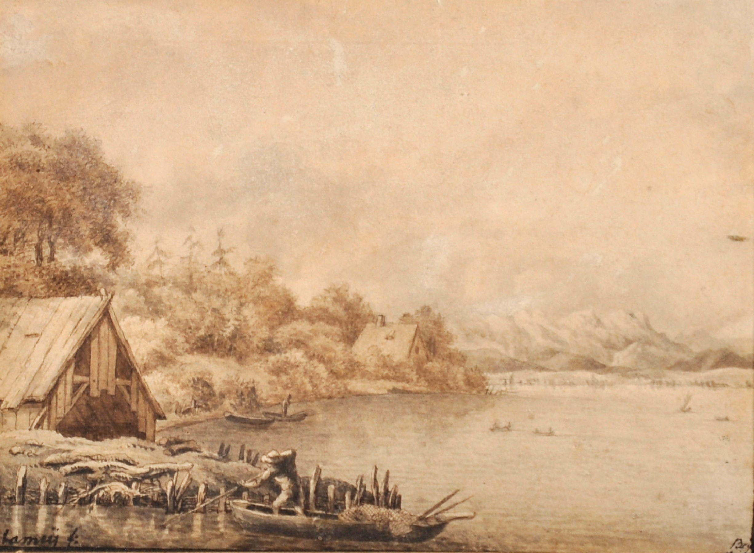 Lamey (Early 19th Century) German. A River Landscape, with a Figure in a Boat, Sepia, Signed and