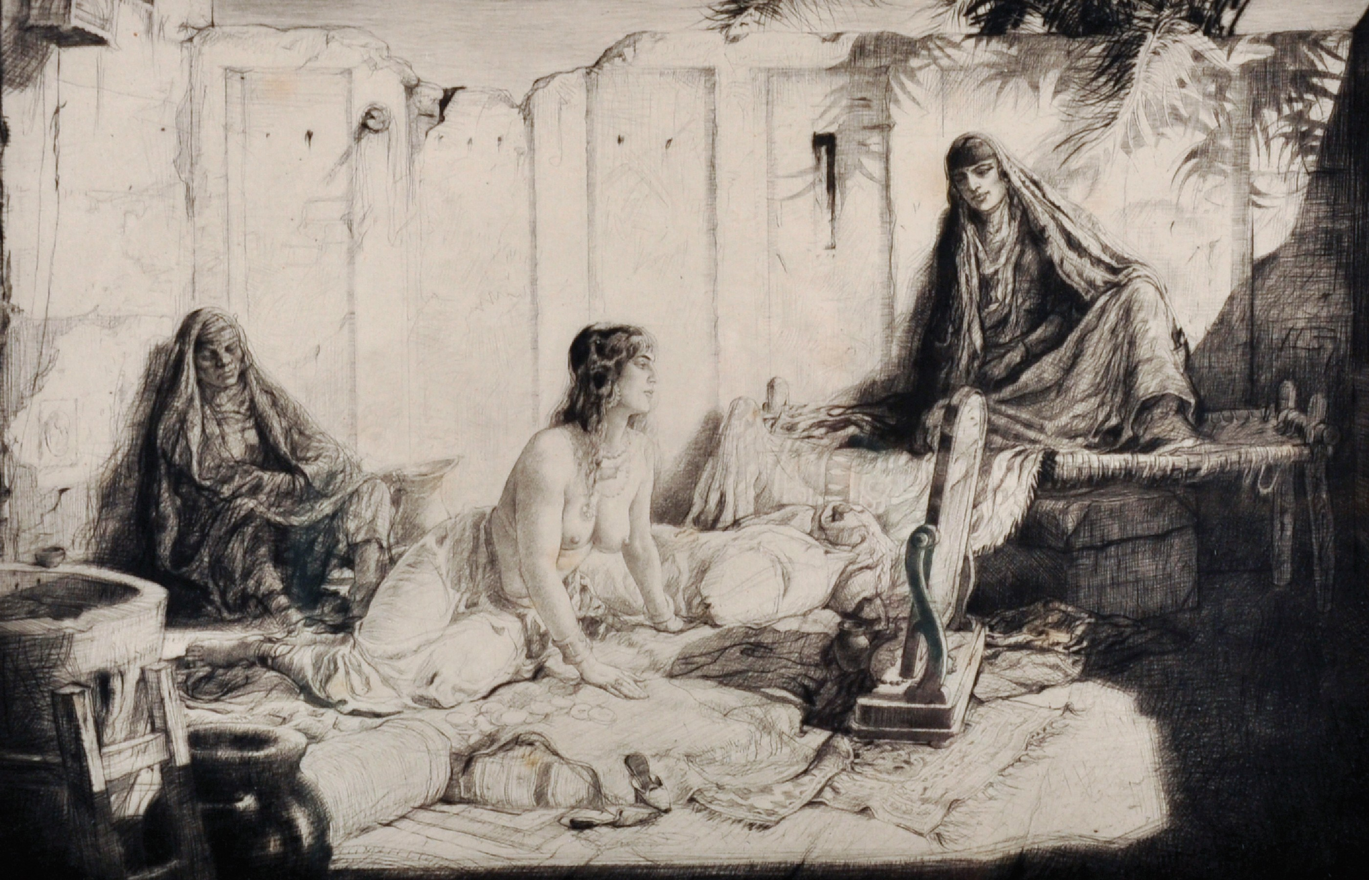 Charles William Cain (1893-1962) British. A Hareem Scene, Etching, Signed and Inscribed '13.77.',