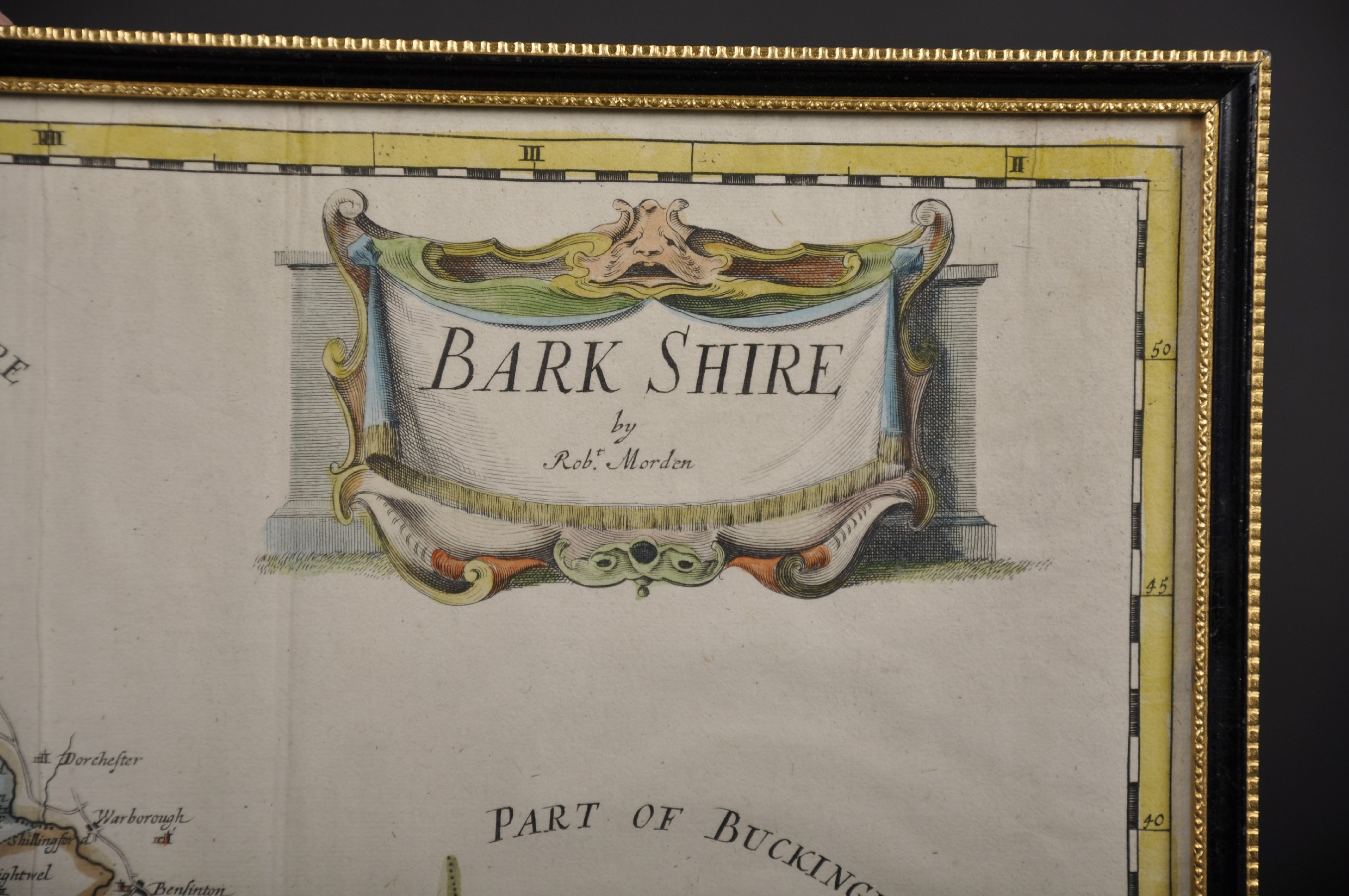 "Robert Morden (c.1650-1703) British. ""Bark Shire [sic]"", Map, 14.25"" x 16.5"". Provenance: Gordon - Image 3 of 4"