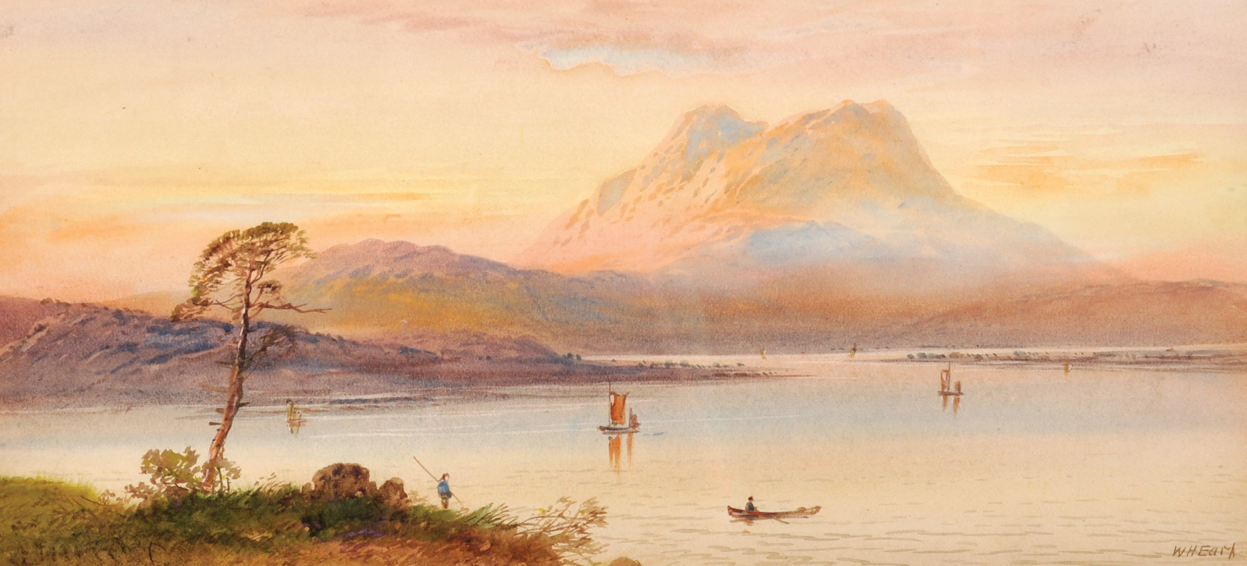 """William Henry Earp (1833- ) British. A Mountainous River Landscape, Watercolour, Signed, 10"""" x 21. - Image 2 of 7"""