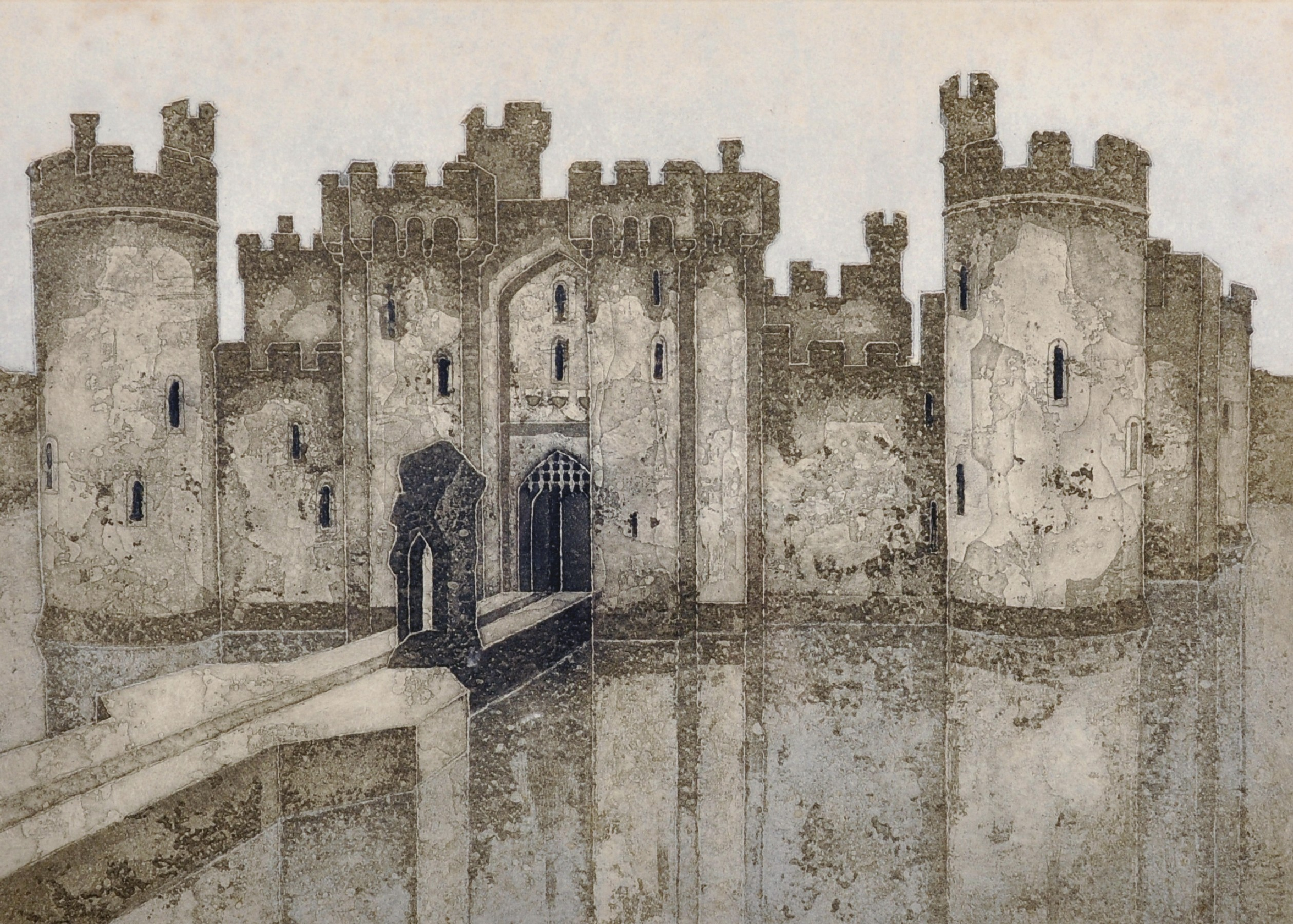 """Lot 16 - Valerie Thornton (1931-1991) British. """"Bodiam Castle"""", Lithograph, Signed, Inscribed, Dated '77"""