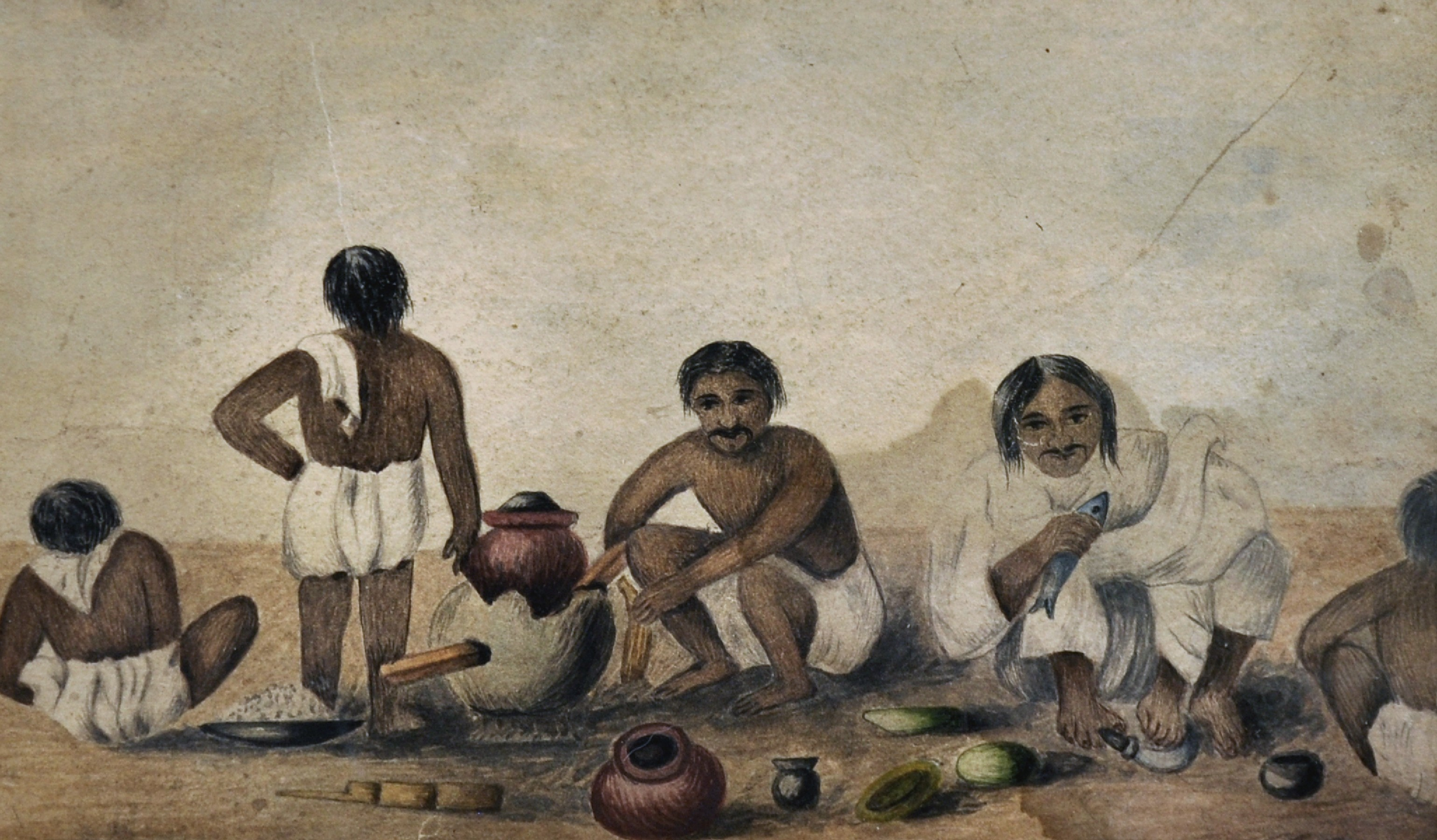 """19th Century Anglo-Indian School. Figures Preparing a Meal, Watercolour, 5.5"""" x 8.5""""."""