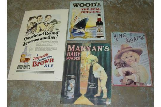 Four reproduction tin signs 'Mannan's Baby Powder', 'King Of