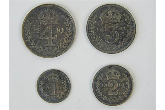 A cased full set of Victorian 'Young Head' Maundy Money