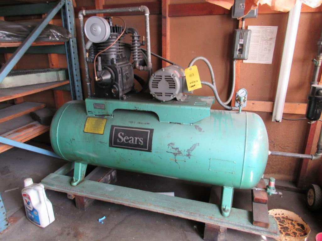 Lot 83 - Sears 3 HP 2-Stage Reciprocating Horizontal Tank Mounted Air Compressor
