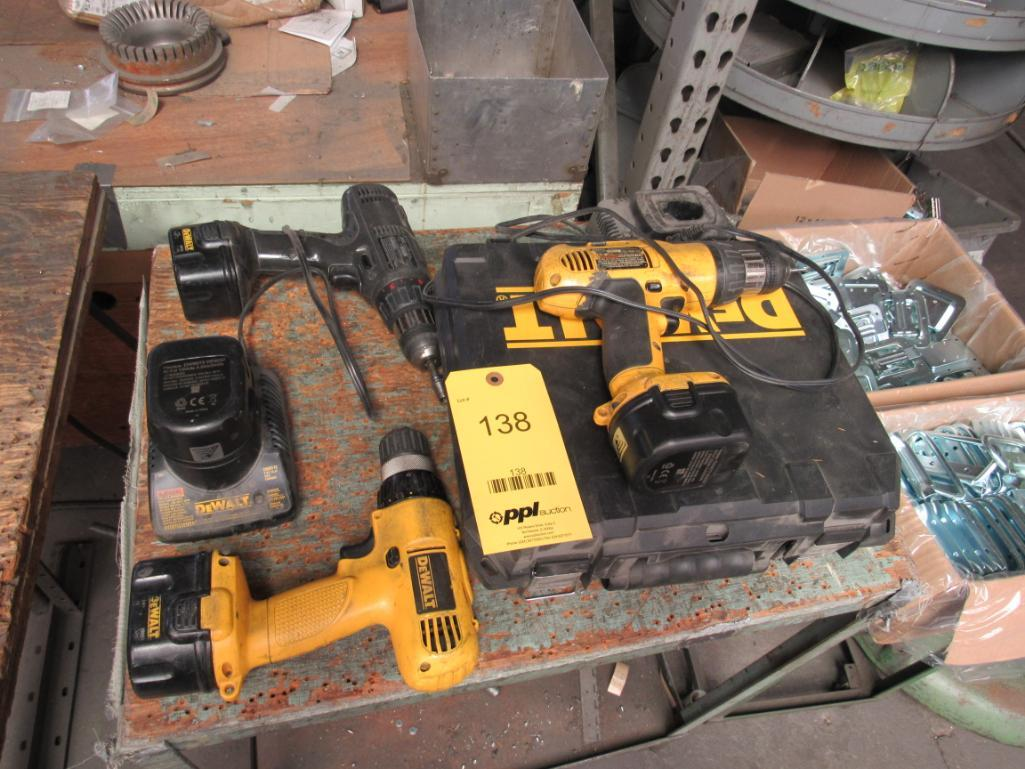 LOT: (3) Assorted Cordless Drills, Batteries, Chargers