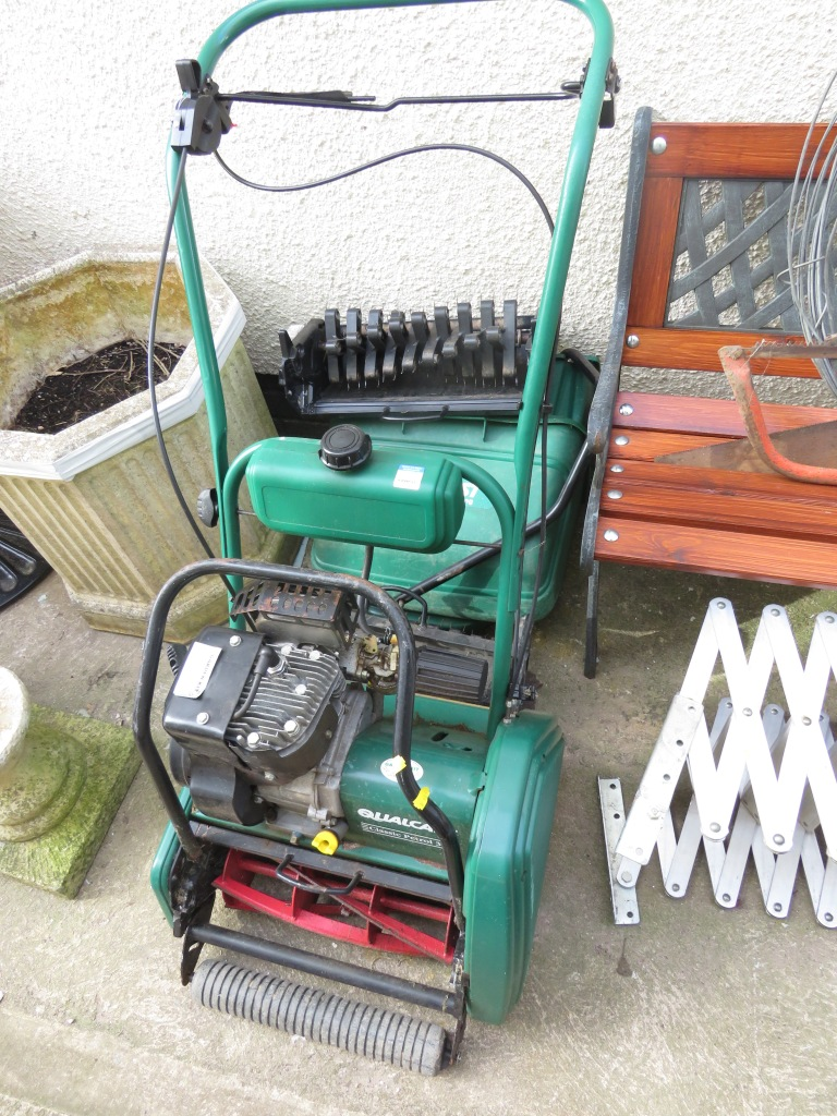 Lot 11 - QUALCAST CLASSIC PETROL 35S LAWNMOWER WITH TWO GRASS BOXES AND TWO SCARIFIER ATTACHMENTS