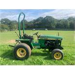 JOHN DEERE 855 COMPACT TRACTOR TURF TYRES, RUNS AND WORKS, SHOWING 1803 HOURS *PLUS VAT*