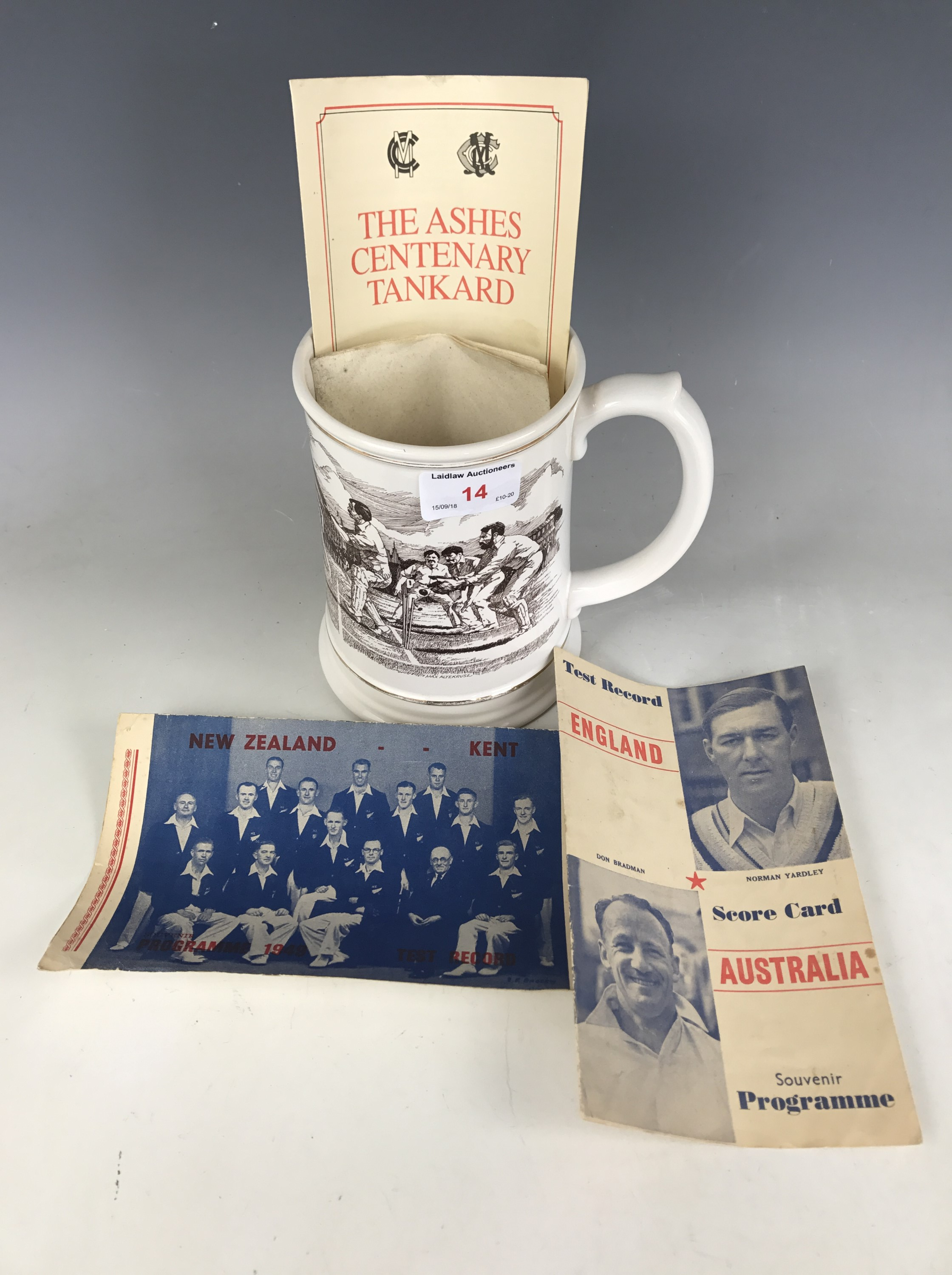 Lot 14 - A Franklin porcelain Ashes centenary tankard, 1982, together with a 1948 England vs Australia