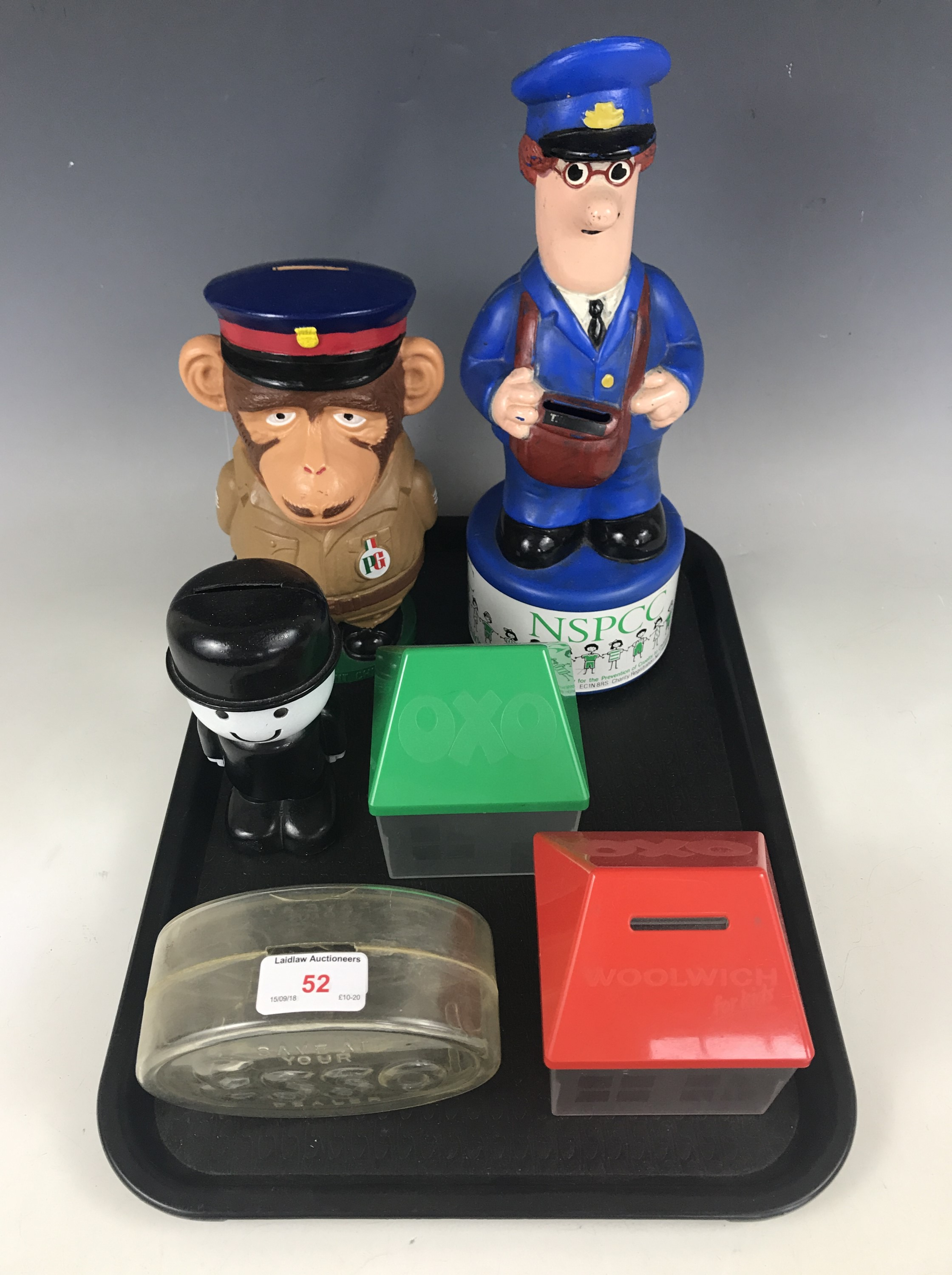 Lot 52 - Six advertising money boxes / savings banks, including a Homepride Fred, an Esso money box, a