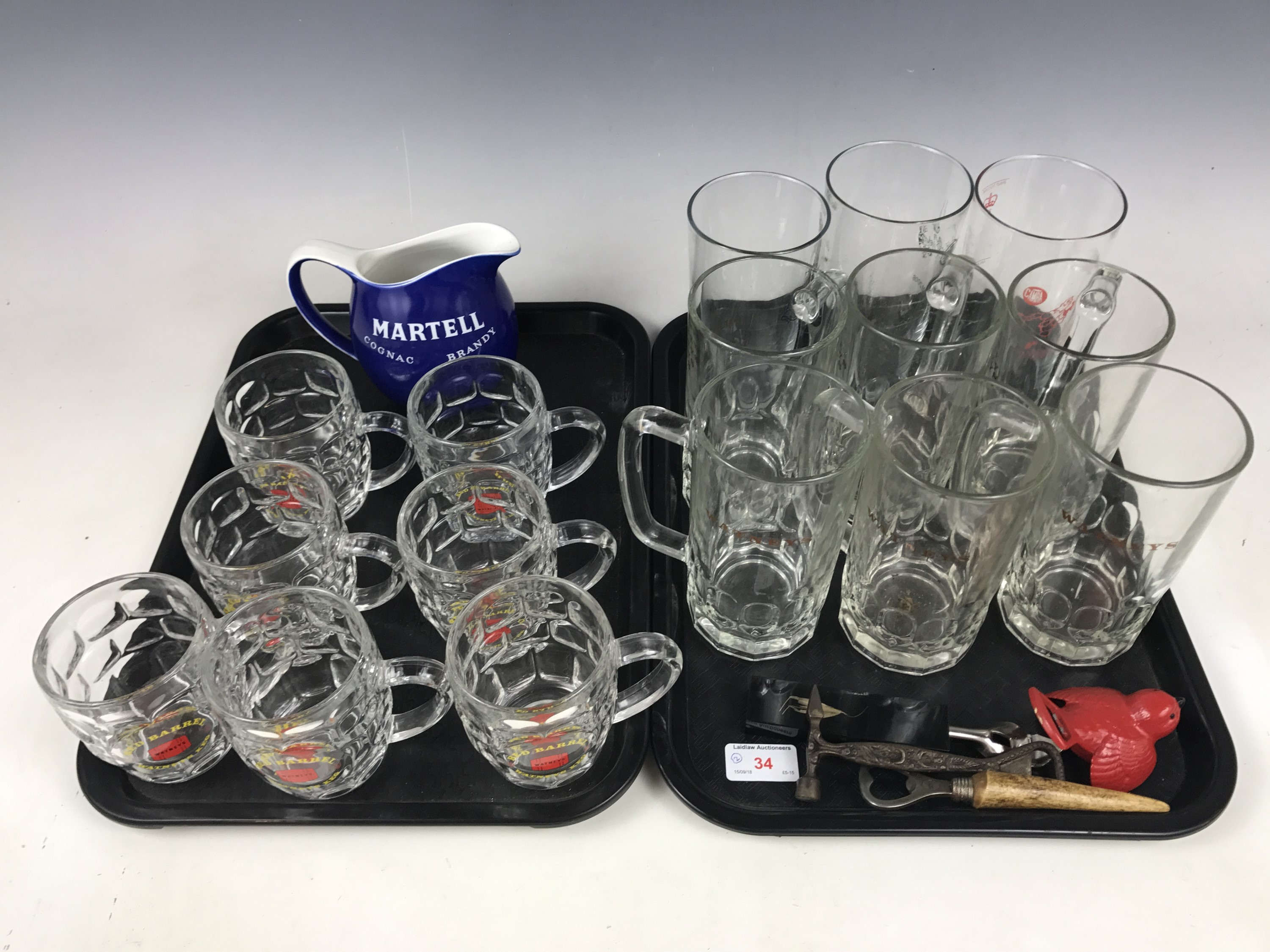 Lot 34 - A quantity of breweriana including branded pub tankards and glasses, a Burleigh Ware Martel water
