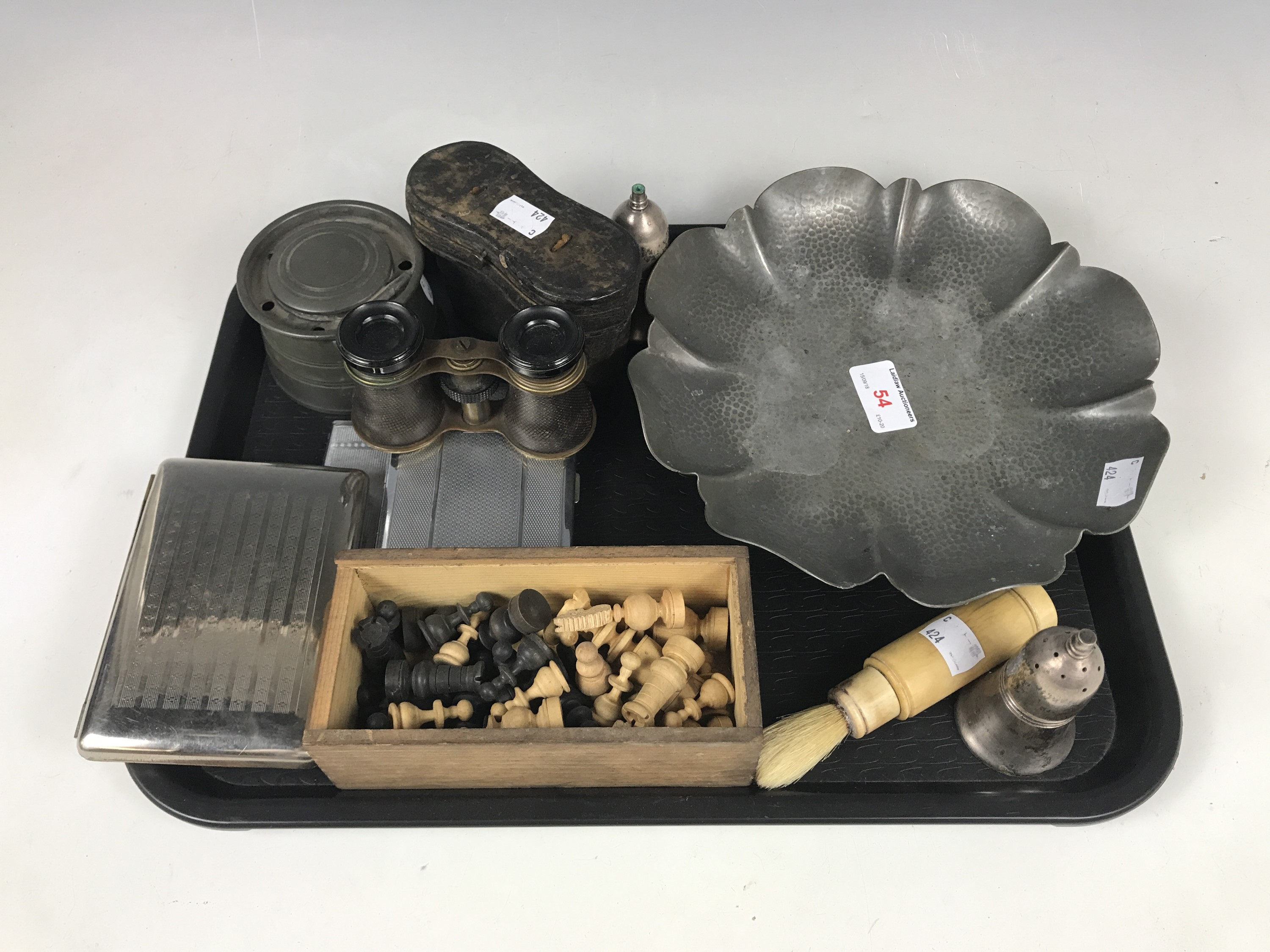 Lot 54 - Sundry collectors' items including two electroplate cigarette holders, a cigar holder, a pewter dish