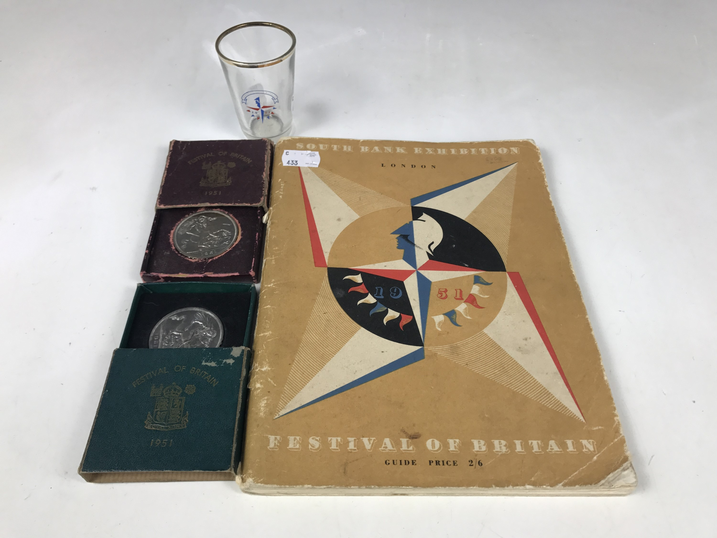 Lot 8 - A Festival of Britain book together with two coins and a small glass