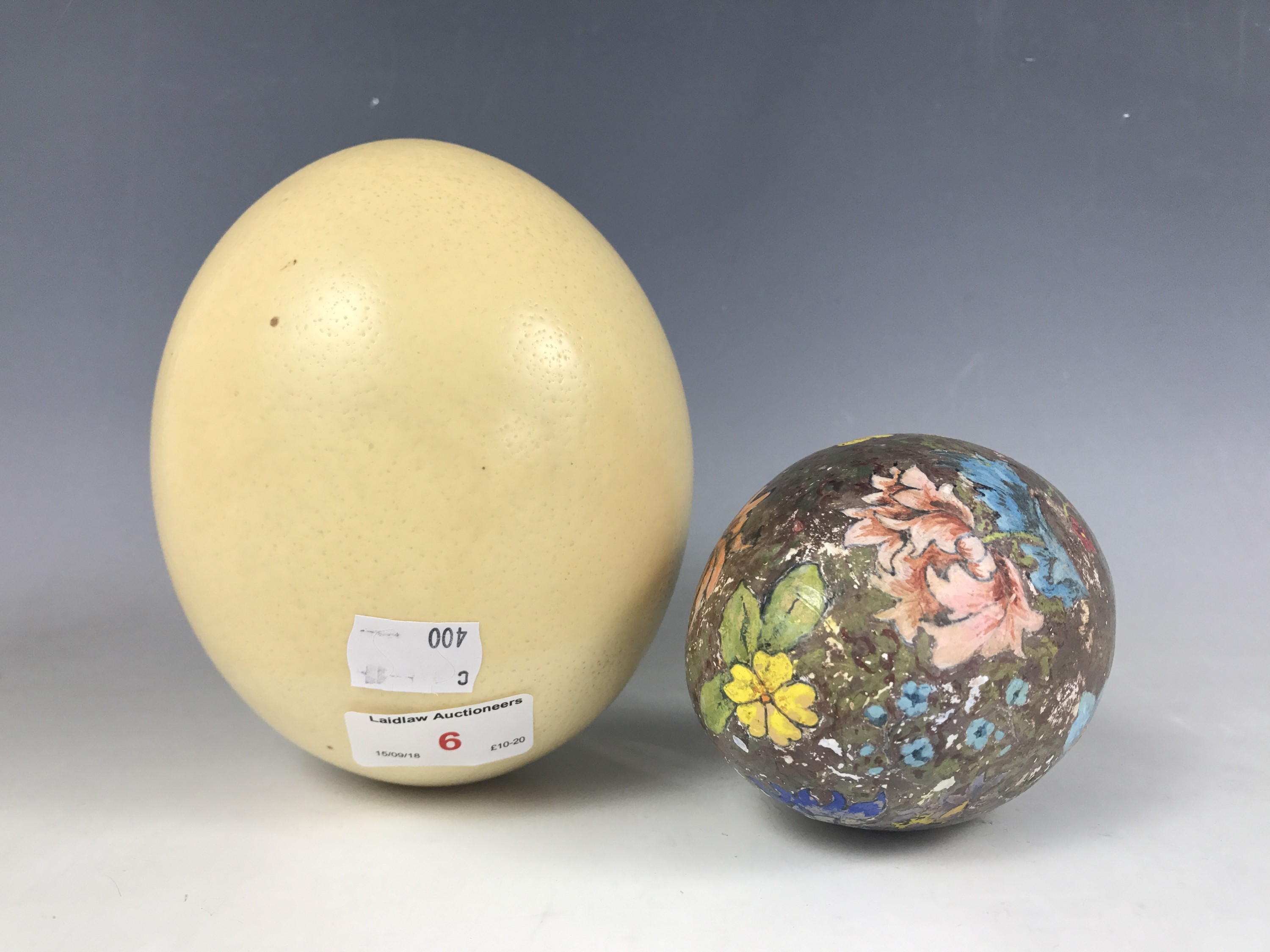 Lot 6 - An ostrich egg, together with one other plaster of Paris egg having hand-painted decoration