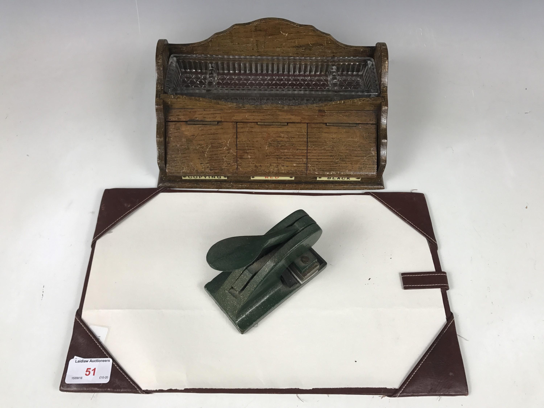 Lot 51 - A George V clerk's desk ink standish etc