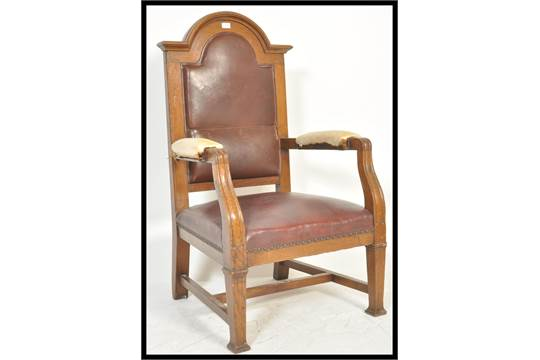Astonishing A 20Th Century Oak Judges Or Judge Arm Chair Having Red Squirreltailoven Fun Painted Chair Ideas Images Squirreltailovenorg