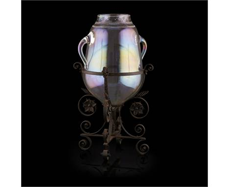 J. & L. LOBMEYR, VIENNA  ENAMELLED IRIDESCENT GLASS VASE AND FRAME, CIRCA 1880   of tapered bulbous form with twin handle