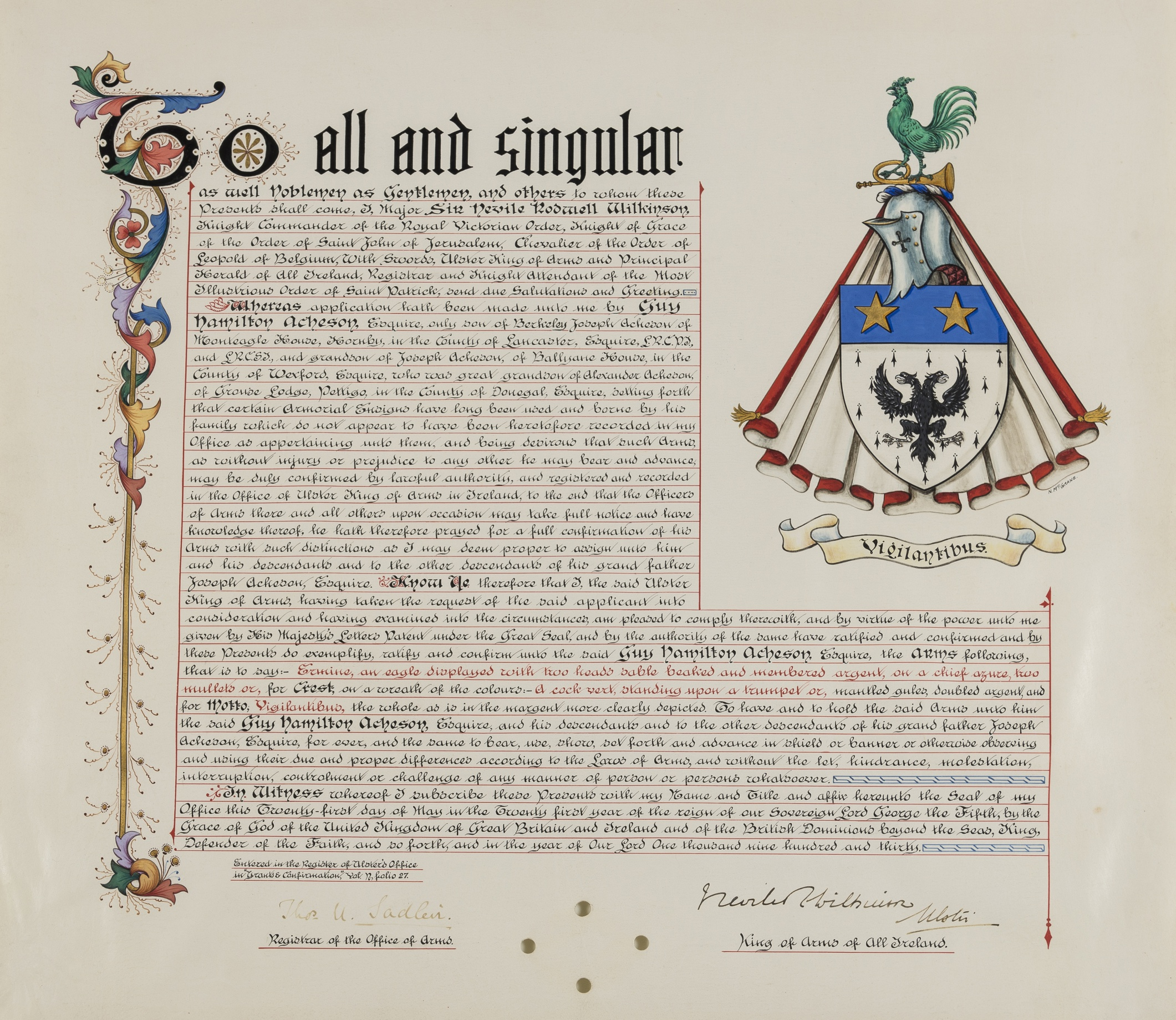 Lot 52 - Irish Heraldry.- Wilkinson (Sir Neville) Grant of arms, 1930.; and 3 others (4).
