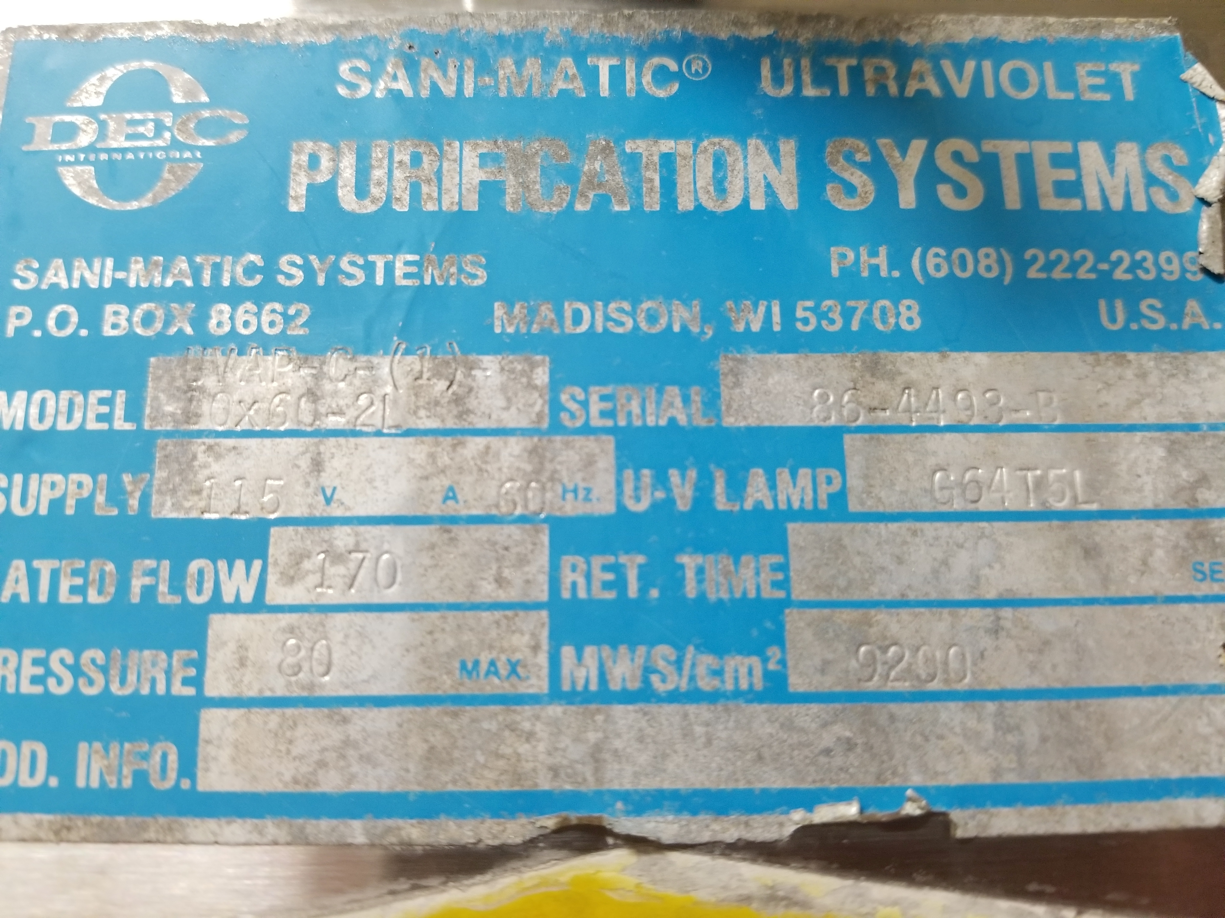Sani-matic Ultraviolet Purification System - Image 3 of 3