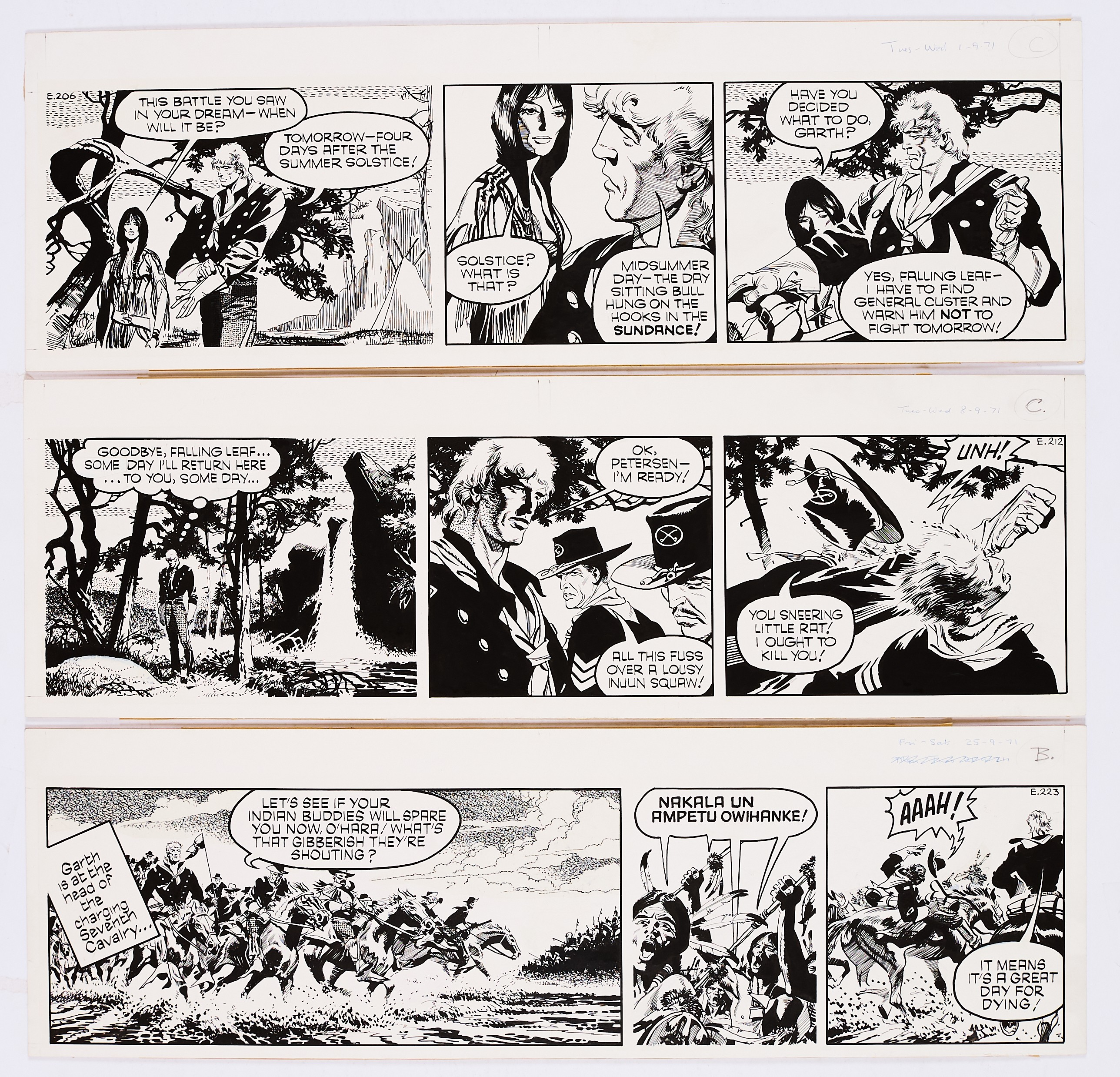 Lot 112 - Garth: 3 original artworks (1971) by Frank Bellamy from the Daily Mirror 1st/8th/25th September