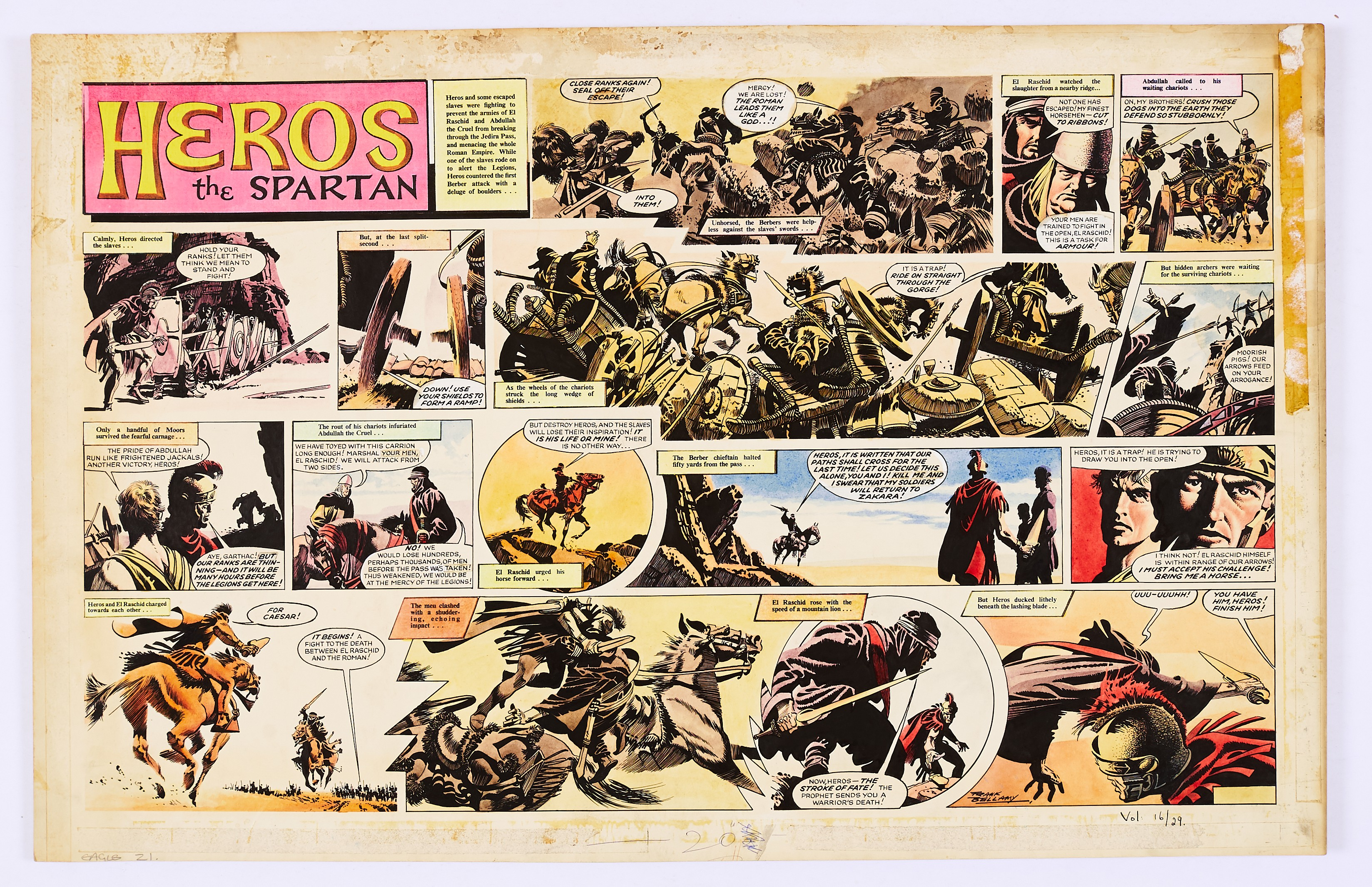 Heros The Spartan double-page original artwork (1965) painted and signed by Frank Bellamy from The