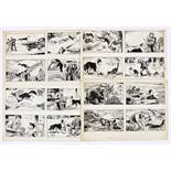 Black Bob: 4 original 4-panel artworks (1950s) by Jack Prout for The Dandy/Black Bob books. Indian