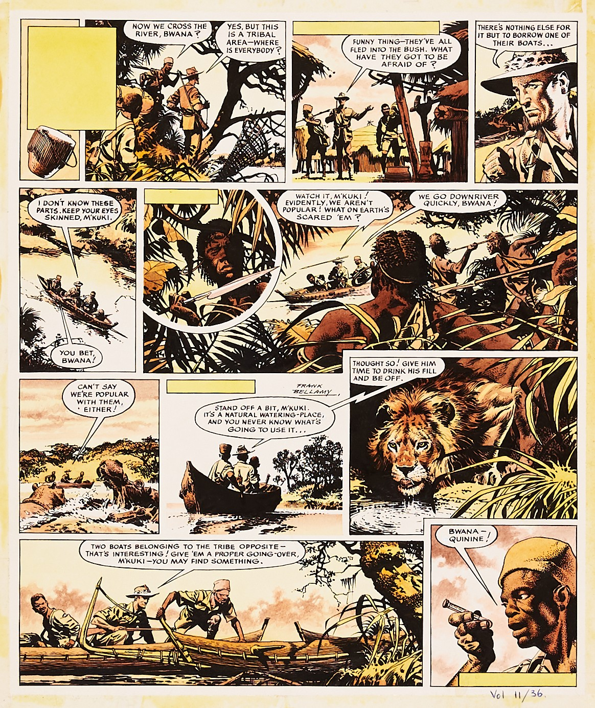 Fraser of Africa/Eagle original artwork (1960) drawn, painted and signed by Frank Bellamy from The
