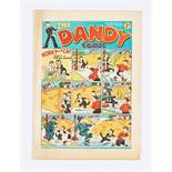 Dandy No 34 (1938). Pg 5 illustrated ad for Beano No 1. Bright cover colours with overhang edge wear