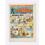 Dandy No 295 (1945). First and only Keyhole Kate cover with Korky relegated to the back page. Bright
