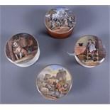 Four 19th century Prattware pot lids including The Times, Low Life, The Village Wedding, Teniers