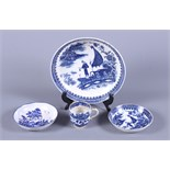 Four pieces of early 19th century blue and white English porcelain including a saucer dish and