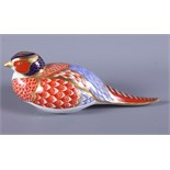 """A Royal Crown Derby porcelain paperweight, in the form of a pheasant, with gold button to base, 6"""""""