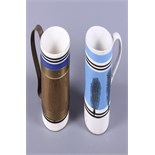 Two 19th century mochaware tankards, each with coloured band with leaf decoration, together with a