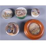 Five 19th century Prattware pot lids including Shakespeare's House, Stratford upon Avon, Little