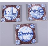 "A set of three 17th century Dutch Delft Mosa design square tiles, decorated landscape, 5"" square"