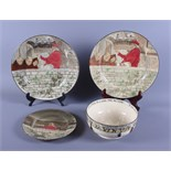 """Two Royal Doulton series ware plates, """"Jackdaw of Rheims"""" D2532, 10 1/4"""" dia, together with a"""